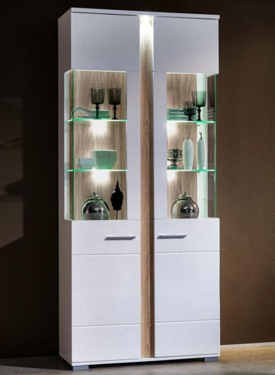 2er set vitrinen spot vitrinenschrank anrichte kommode wohnzimmer vitrine wei hochglanz sch ner