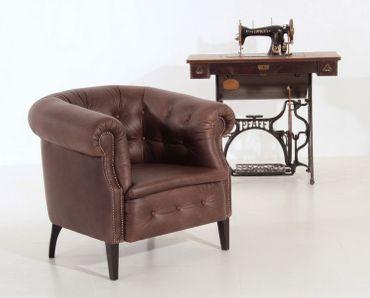 ABERDEEN Einzelsessel Chesterfield Sessel Einzelsofa Antik-Leder Braun – Bild 4