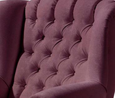 CROSBY Einzelsessel Chesterfield Sessel Einzelsofa Samtvelour Violett – Bild 2