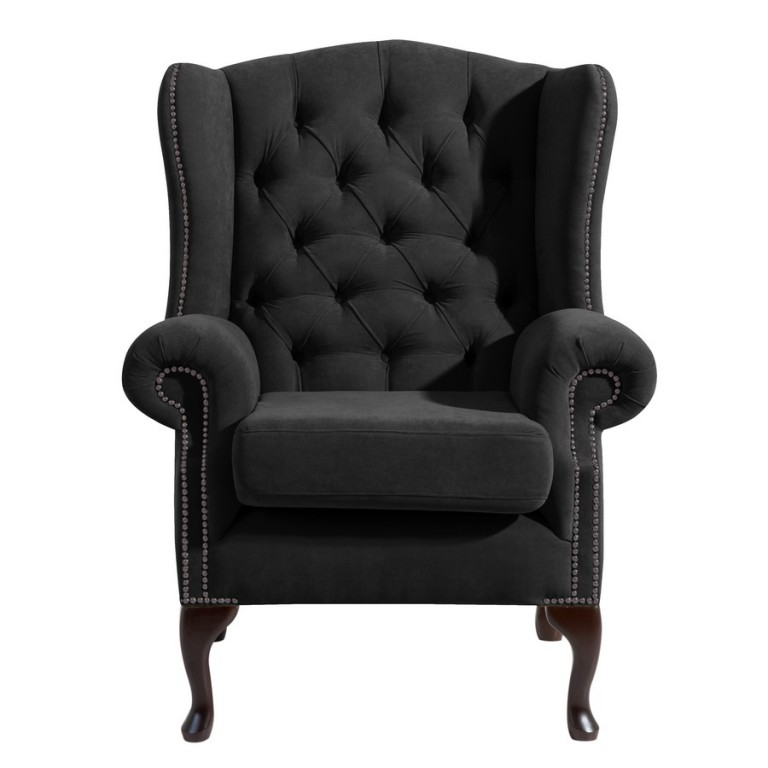 widnes einzelsessel chesterfield sessel einzelsofa veloursstoff schwarz polsterm bel. Black Bedroom Furniture Sets. Home Design Ideas
