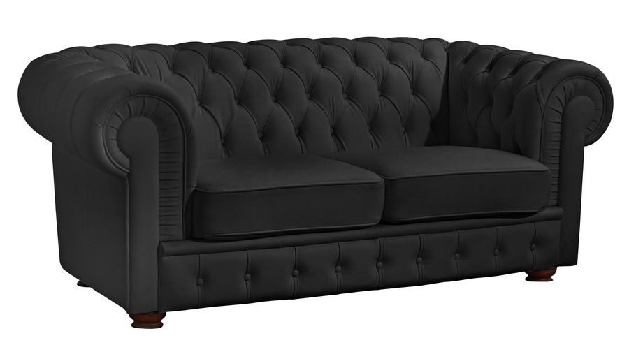 nottingham 2er sofa chesterfield couch leder schwarz polsterm bel chesterfield 2 sitzer. Black Bedroom Furniture Sets. Home Design Ideas