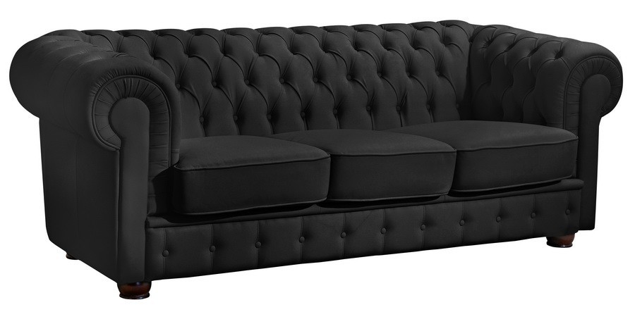 nottingham 3er sofa chesterfield couch kunstleder schwarz polsterm bel chesterfield 3 sitzer. Black Bedroom Furniture Sets. Home Design Ideas