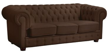 NOTTINGHAM Sofagarnitur Chesterfield Couchgarnitur Sofa Kunstleder Braun – Bild 4