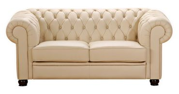 NORWICH 2er Sofa Chesterfield Couch Leder Beige – Bild 1