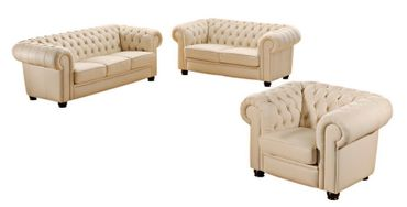 NORWICH 2er Sofa Chesterfield Couch Leder Beige – Bild 2