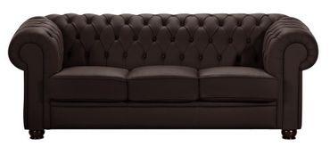 NORWICH 3er Sofa Chesterfield Couch Leder Braun – Bild 1