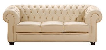 NORWICH Sofagarnitur Chesterfield Couchgarnitur Sofa Leder Beige – Bild 4