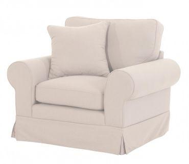 NEWPORT Einzelsessel Sofa Sessel Einzelsofa Leinenoptik Creme – Bild 2