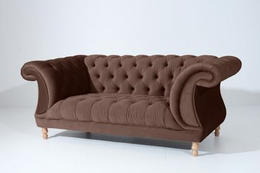 EXETER 2er Sofa Chesterfield Couch Samtvelours Braun – Bild 1