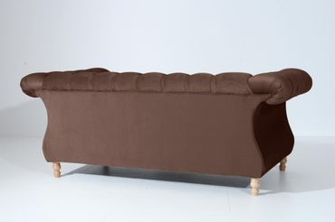 EXETER 2er Sofa Chesterfield Couch Samtvelours Braun – Bild 3