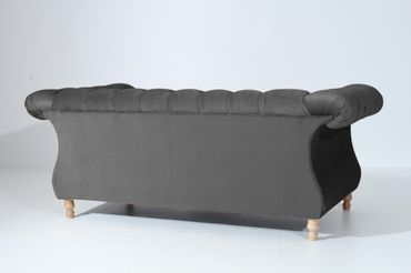 EXETER 2er Sofa Chesterfield Couch Samtvelours Anthrazit – Bild 3