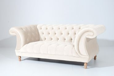 EXETER 2er Sofa Chesterfield Couch Samtvelours Creme – Bild 1