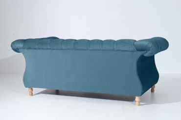 EXETER 2er Sofa Chesterfield Couch Samtvelours Petrol – Bild 3