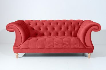 EXETER 2er Sofa Chesterfield Couch Samtvelours Rot – Bild 6