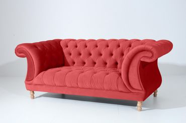 EXETER 2er Sofa Chesterfield Couch Samtvelours Rot – Bild 1
