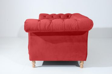 EXETER 2er Sofa Chesterfield Couch Samtvelours Rot – Bild 2