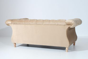 EXETER 2er Sofa Chesterfield Couch Samtvelours Sandfarben – Bild 3
