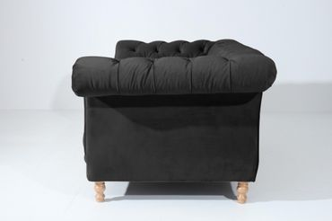 EXETER 2er Sofa Chesterfield Couch Samtvelours Schwarz – Bild 2