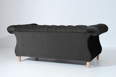 EXETER 2er Sofa Chesterfield Couch Samtvelours Schwarz – Bild 3