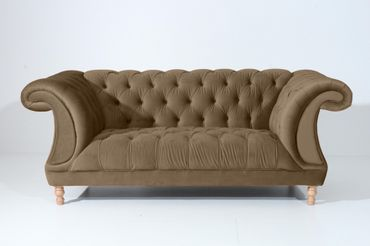 EXETER 2er Sofa Chesterfield Couch Samtvelours Sahara-Braun – Bild 6