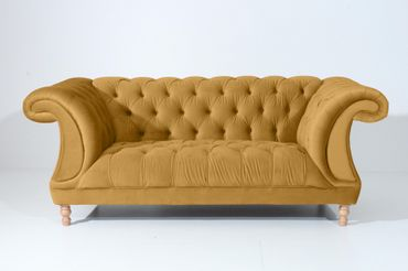 EXETER 2er Sofa Chesterfield Couch Samtvelours Gelb – Bild 6