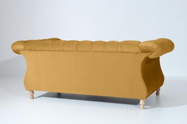 EXETER 2er Sofa Chesterfield Couch Samtvelours Gelb – Bild 3