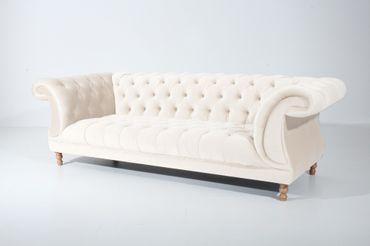 EXETER 3er Sofa Chesterfield Couch Samtvelours Creme – Bild 1