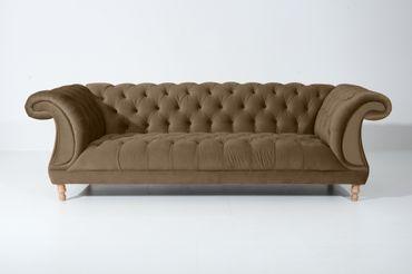 EXETER 3er Sofa Chesterfield Couch Samtvelours Sahara-Braun – Bild 6
