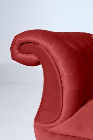 EXETER 3er Sofa Chesterfield Couch Samtvelours Dunkelrot – Bild 4