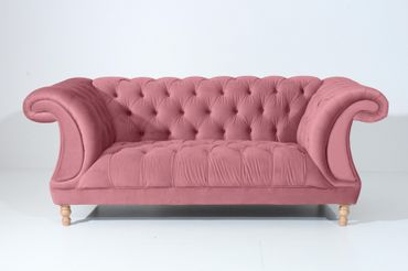 EXETER Sofagarnitur Chesterfield Couchgarnitur Sofa Samtvelours Rosé – Bild 3