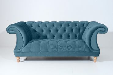 EXETER Sofagarnitur Chesterfield Couchgarnitur Sofa Samtvelours Petrol – Bild 3