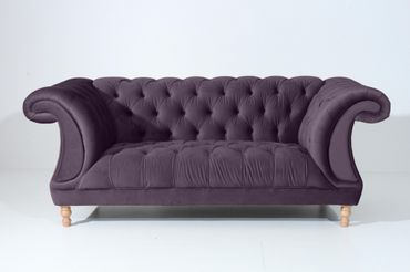 EXETER Sofagarnitur Chesterfield Couchgarnitur Sofa Samtvelours Lila – Bild 3