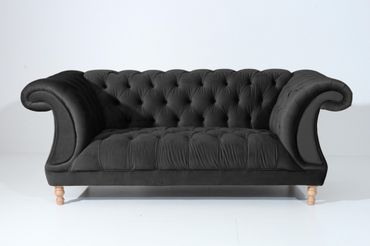 EXETER Sofagarnitur Chesterfield Couchgarnitur Sofa Samtvelours Schwarz – Bild 3