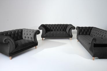 EXETER Sofagarnitur Chesterfield Couchgarnitur Sofa Samtvelours Schwarz – Bild 1