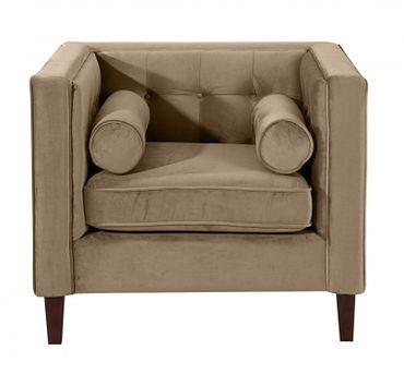 BLACKBURN Einzelsessel Sofa Sessel Einzelsofa Samtvelour Sahara-Braun – Bild 2