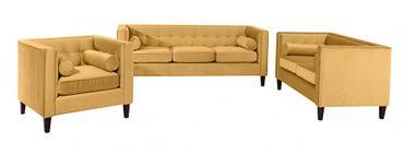 BLACKBURN Einzelsessel Sofa Sessel Einzelsofa Samtvelour Gelb – Bild 4