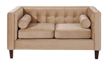 BLACKBURN 2er Sofa Couch Samtvelour Sandfarben – Bild 2