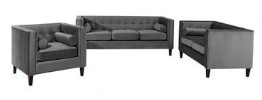 BLACKBURN 3er Sofa Couch Samtvelour Anthrazit – Bild 3
