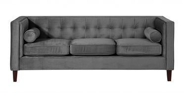 BLACKBURN 3er Sofa Couch Samtvelour Anthrazit – Bild 2