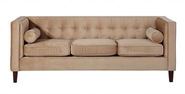 BLACKBURN 3er Sofa Couch Samtvelour Sandfarben – Bild 2