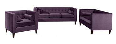 BLACKBURN 3er Sofa Couch Samtvelour Lila – Bild 3