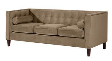 BLACKBURN 3er Sofa Couch Samtvelour Sahara-Braun – Bild 1
