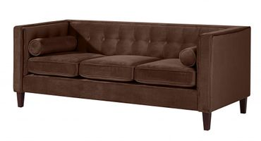 BLACKBURN Sofagarnitur Couchgarnitur Sofa Garnitur Samtvelour Braun – Bild 4