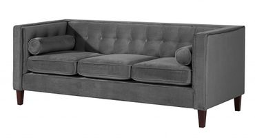 BLACKBURN Sofagarnitur Couchgarnitur Sofa Garnitur Samtvelour Anthrazit – Bild 4