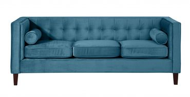 BLACKBURN Sofagarnitur Couchgarnitur Sofa Garnitur Samtvelour Petrol – Bild 8