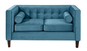 BLACKBURN Sofagarnitur Couchgarnitur Sofa Garnitur Samtvelour Petrol – Bild 7