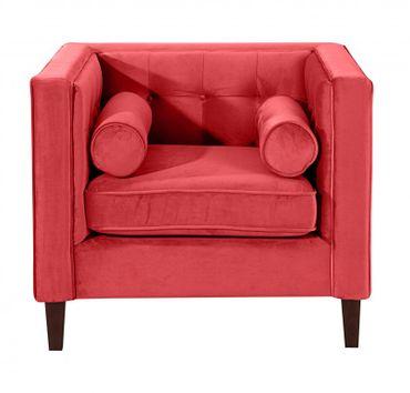 BLACKBURN Sofagarnitur Couchgarnitur Sofa Garnitur Samtvelour Rot – Bild 5