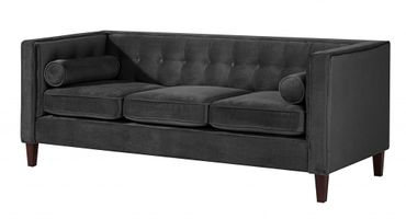 BLACKBURN Sofagarnitur Couchgarnitur Sofa Garnitur Samtvelour Schwarz – Bild 4