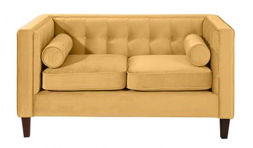 BLACKBURN Sofagarnitur Couchgarnitur Sofa Garnitur Samtvelour Gelb – Bild 7