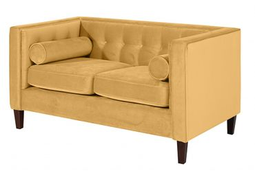 BLACKBURN Sofagarnitur Couchgarnitur Sofa Garnitur Samtvelour Gelb – Bild 3